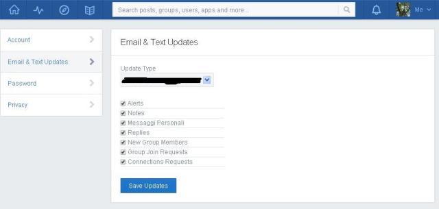 Impostazione dei messaggi di notifica